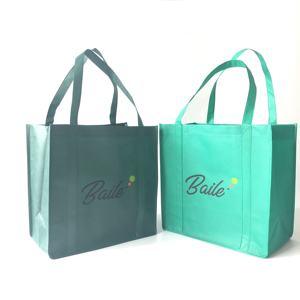 Eco Custom Logo Printed Reusable Extra-Wide Non Woven Fabric Carry Bag Grocery Shopping Bags