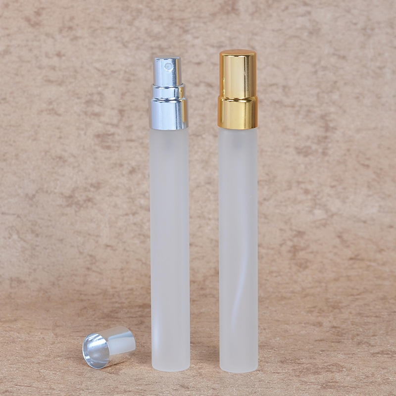 MUB gold and silver aluminum spray , travel 10 ml glass bottle with frost