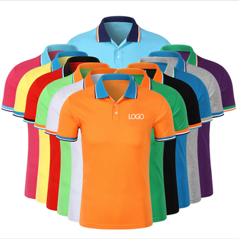 Knitted Jacquard collar plain blank tops double mercerized cotton polo shirt
