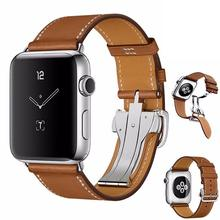 Genuine Single leather watch bands for apple watch 1/2/3/4 whole folding clasps butterfly style buckle watch strap