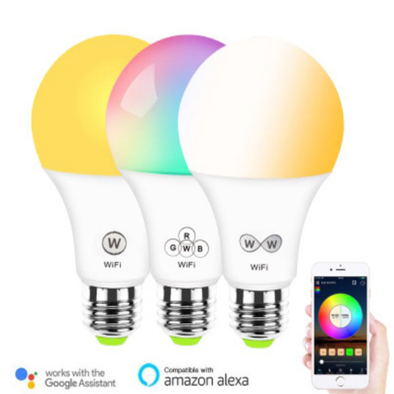 High bright full color changing A60 5w 10w RGBW wifi led light E27 B22 E14 smart led bulb compatible with Alexa google home
