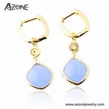 Handmade Aqua Chalcedony 925 Sterling Silver Hanging Earring