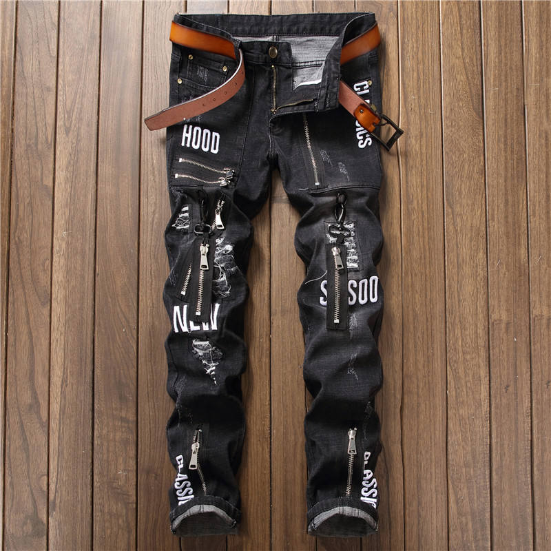 Factory Retail Black Color Mens Distressed Jeans Pants With Non-Function Zipper