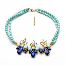 xl00474 Chunky Brands Resin Street Shoot Mint Beads Statement Necklace Imitation Accessories Bohemian Jewelry