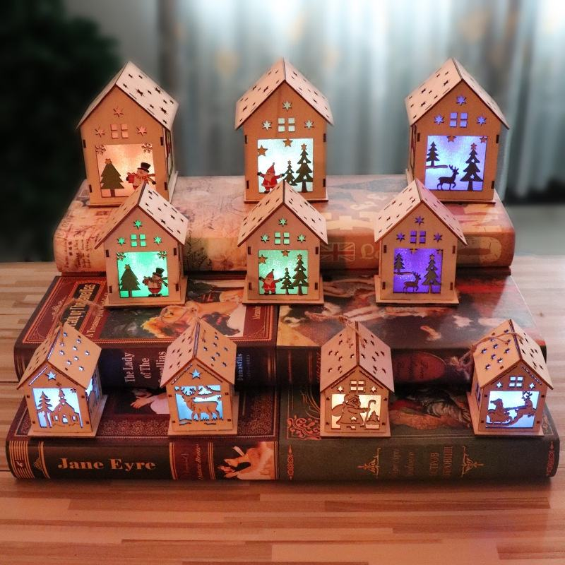 M size Festival LED Light Wood House Christmas Tree Hanging Ornaments Nice Xmas tree Decoration