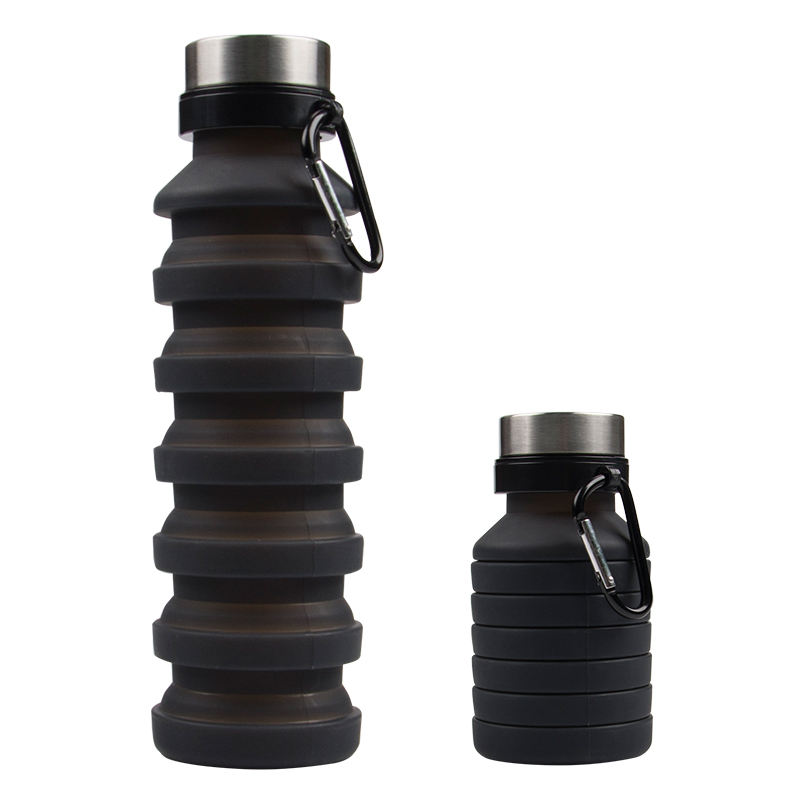 Customized Silicone Foldable Collapsible Outdoor Drinking Sport Water Bottle