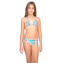simple ruffle swimwear tie back swimsuit new style for young girls
