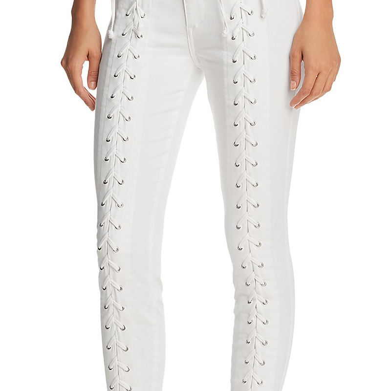 OEM mujeres blanco LACE-up skinny jeans