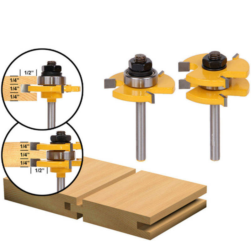 1 Set Tongue & Groove Router Bit Set 3/4