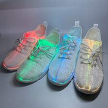 Popular OEM fiber optic running sneakers dance sport adult colorful LED shoe