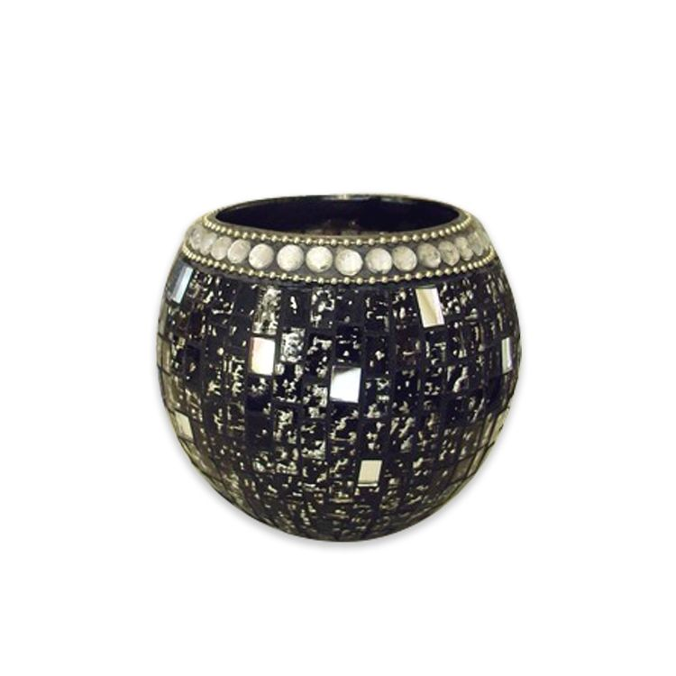 Round shape Bulged spot design Piece Home decoration Black and gold color Handmade Glass mosaic candle holder