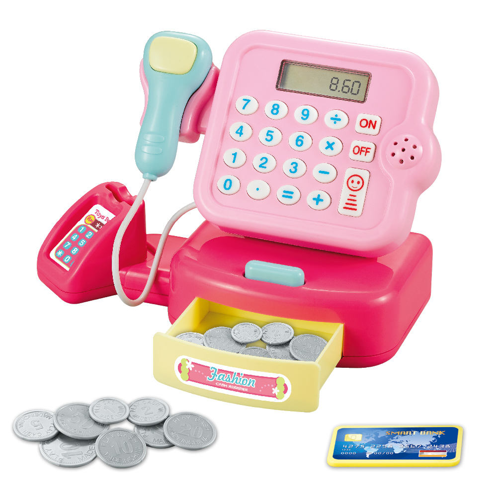 Plastic Kids Toy Educational Toy Cash Register With Electronic Sounds Light Play Money Grocery Toy Pretend Play Kit Kid's Gift