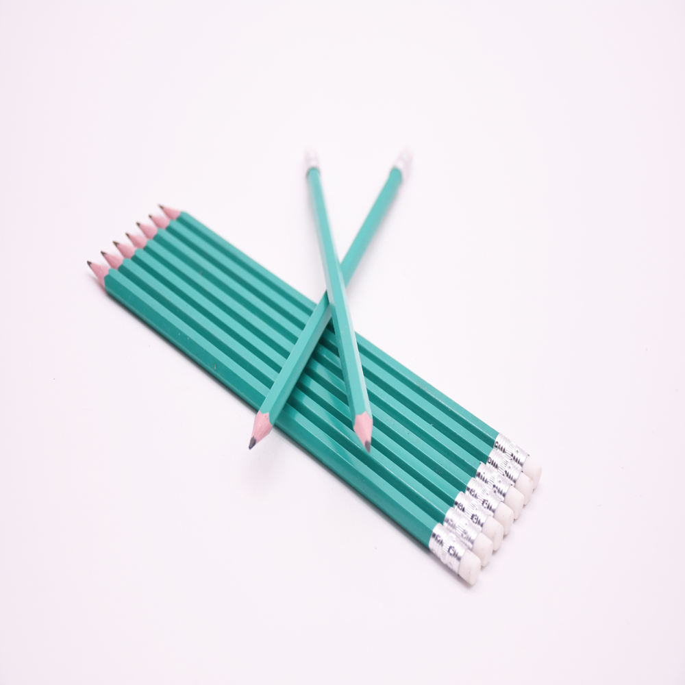 12pcs High quality standard HB pencils plastic HB pencil with eraser
