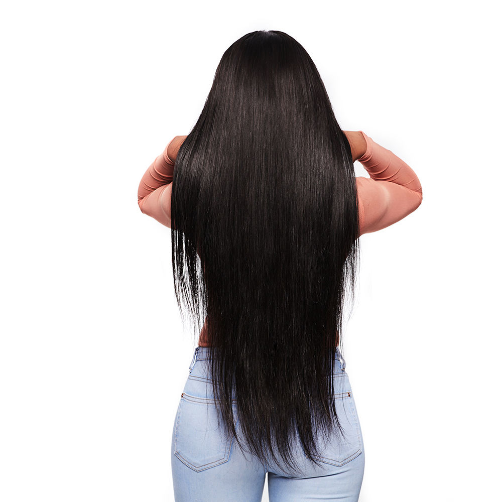 MegaLook 180% Density Unprocessed Original Real Human Long Hair Lace Front Cuticle Aligned Wig