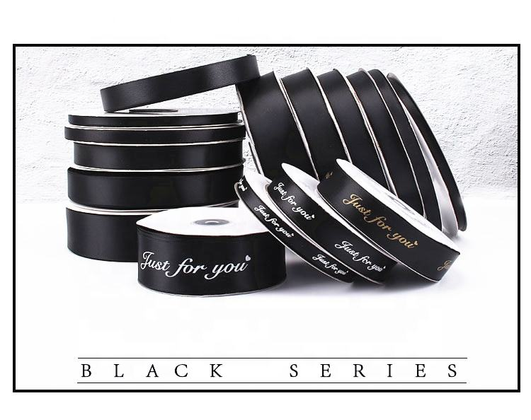 Custom silk grosgrain ribbon with logo packaging for flower boxes,printed ribbon package for gifts