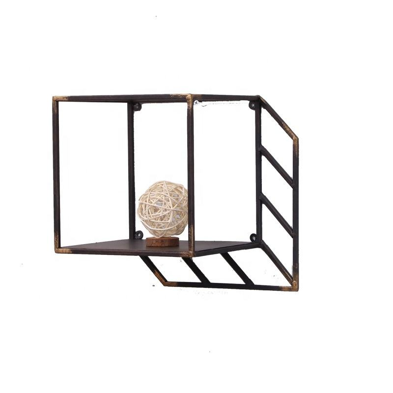 American Industrial Vintage 3D Space Iron Book Shelf Wall Hanging Decor