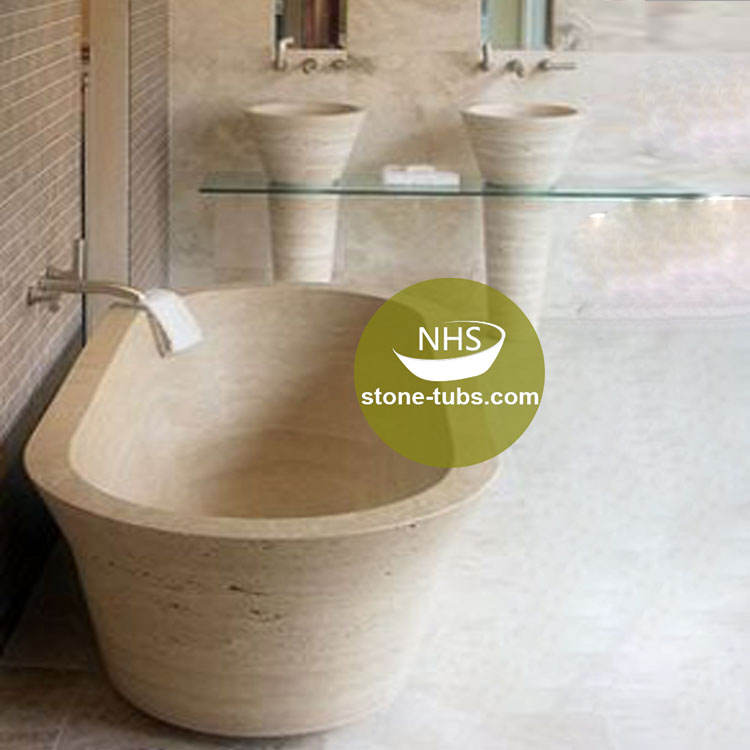 natural freestanding soaking travertine stone tub with water basin and sinking in stone bathtub factory price