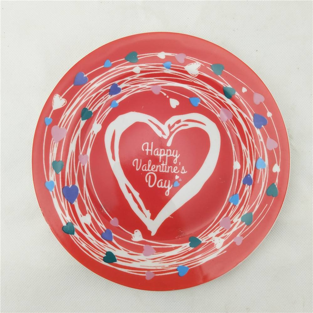 2019 happy valentine's day ceramic porcelain plate with sweet heart design