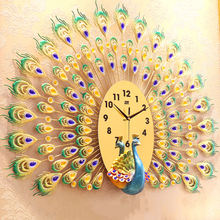 Large Metal JJT Peacock Wall Clocks Manufacturer 3D Modern Home Decoration Products Gift for living room