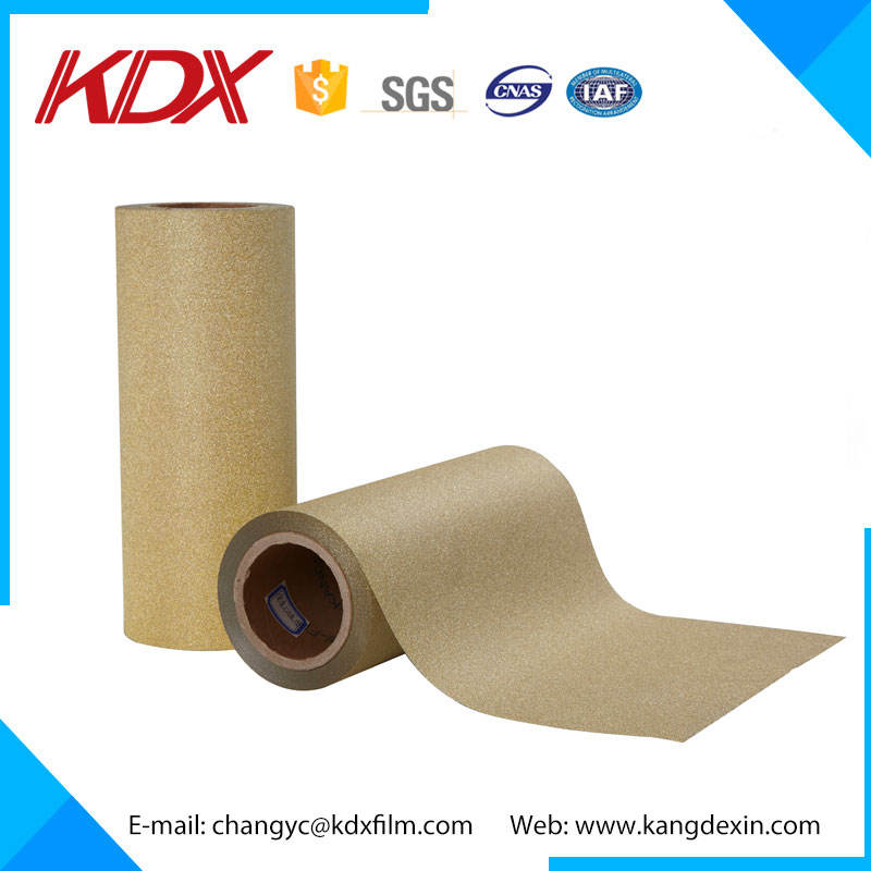 Chinese KDX Premium Golden Glitter BOPP Thermal Laminating Film Sparkle Lamination Film 130mic for Flexible Packing