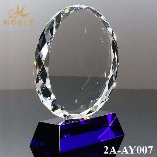 Sunflower Shape Blank Plaques Crystal Trophy with Blue Base