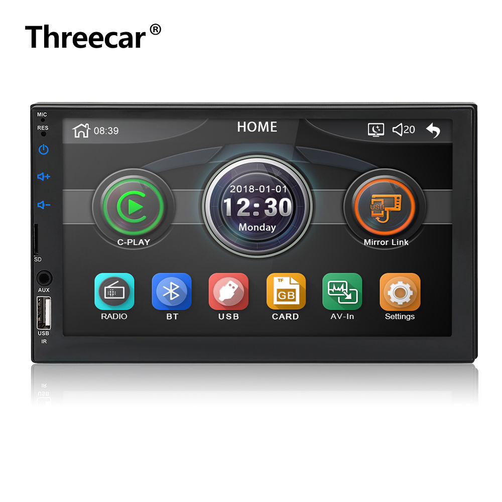 New Product C-7049D 2Din 7inch Full Touch Screen Support Mirrorlink Android and Apple with USB Bluetooth FM