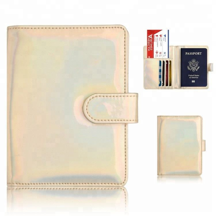 Bling rainbow pu leather signals blocking family passport ticket holder rfid for credit card/ passports