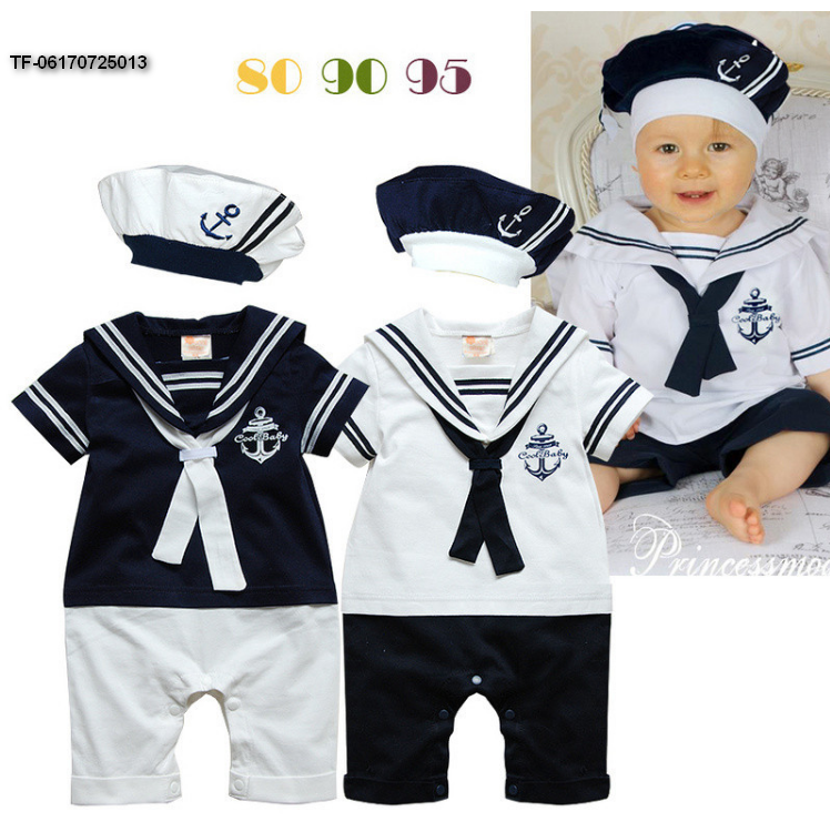 Baby Newborn SAILOR WHITE NAVY ROMPER WITH HAT SUIT GROW SUMMER OUTFIT SETS