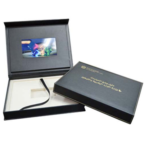 LCD Video Postcard Gift in Print LCD Video Brochure with USB Cable