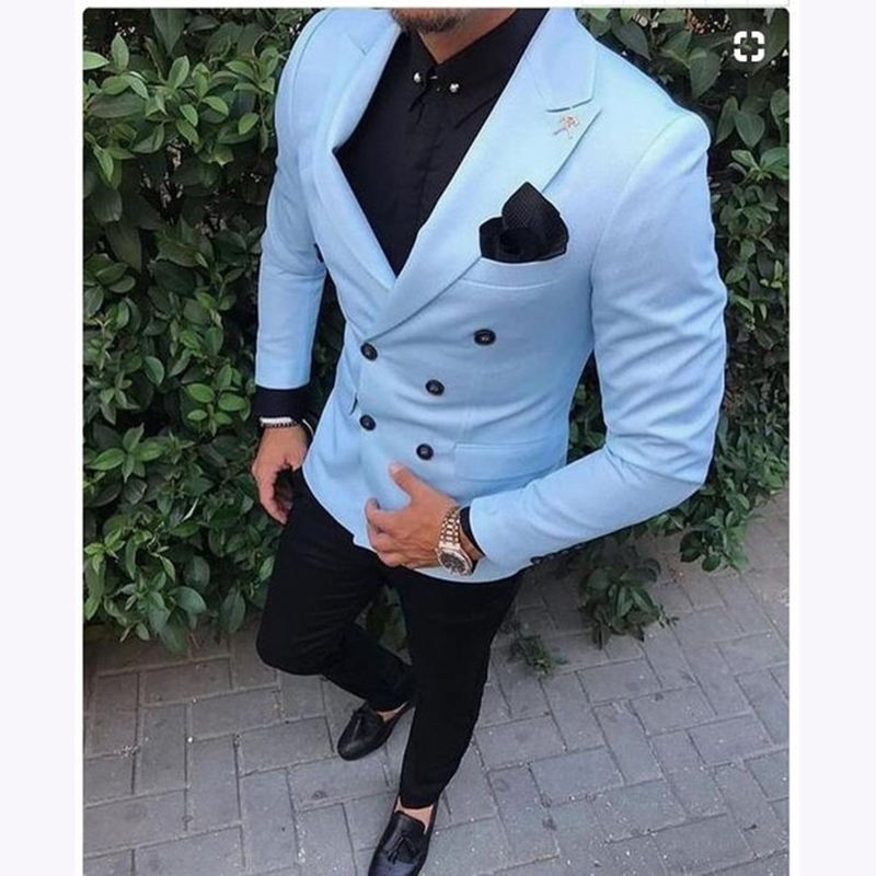 HD125 Tailored Slim Fit 2 Piece Light Blue Suit Men Tuxedo double breasted Groom Blazer mens Wedding Suits Jacket And Pants