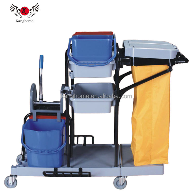High quality cleaning janitor cart plastic cart room service push cart trolley
