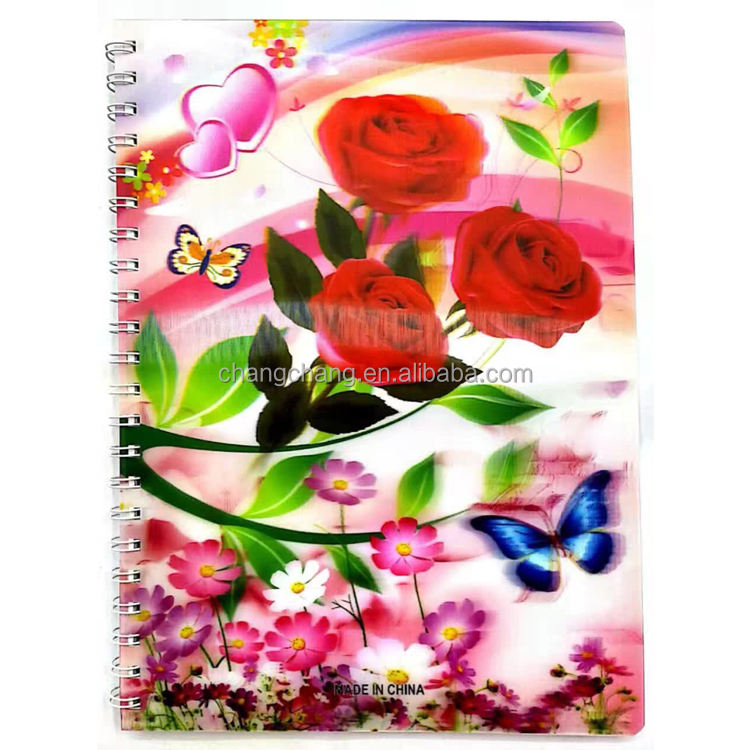 3d notebook/cancelleria in USA/3d lenticolare a spirale notebook