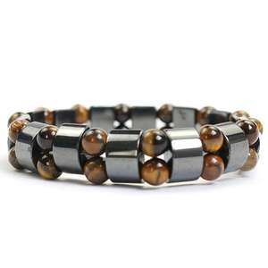 New Design Preto Hematita Terapia Magnética Talão Wihe Tiger Eye Beads Estiramento Pulseira For Man & Women