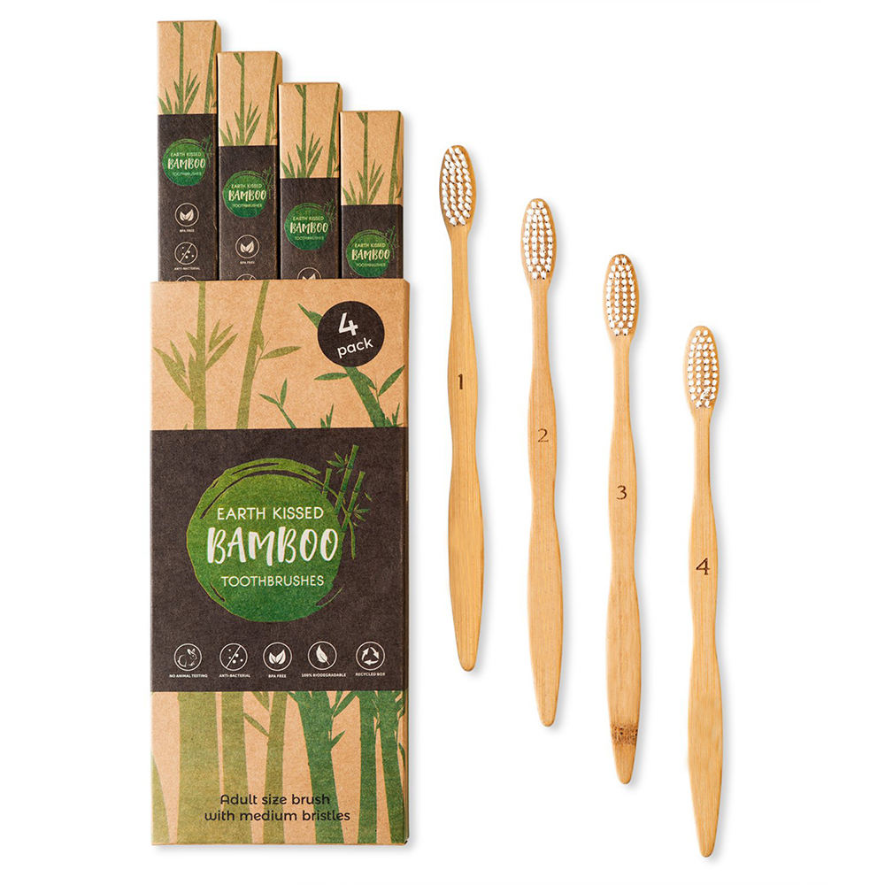 FDA CE Wholesale Customize Private Logo Label Natural Degradable Eco-Friendly BPA Free Charcoal Bristle Bamboo Toothbrush