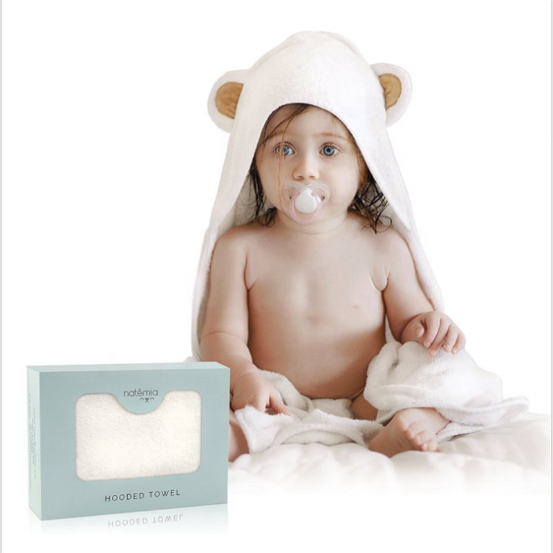 Custom 100% organic bamboo towel soft plain white animal face baby hooded towel 500gsm