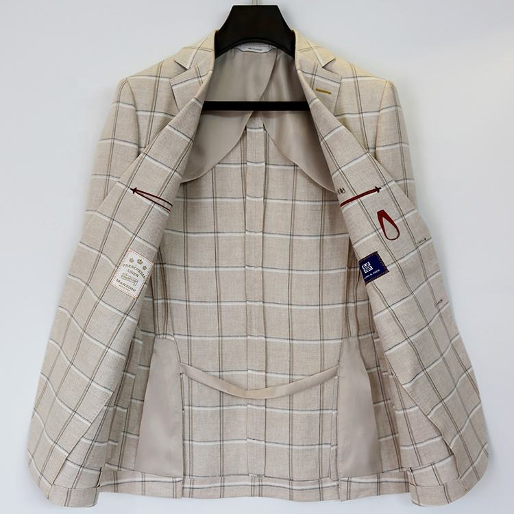 Fashion tailored beige men's blazer half lining plaid coat homme slim fit blazer summer suits men