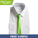 Free sample wholesale fashion fluorescent green mens school zipper skinny polyester neck tie