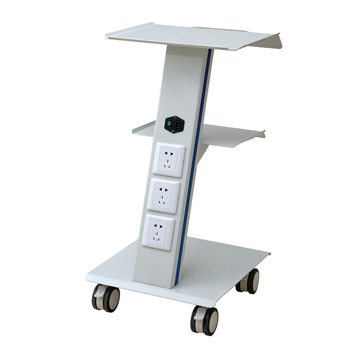 3 tiers stainless steel medical trolley dental unit cart with swivel wheels and socket for dental Clinic