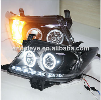 2010-2013 Năm Cho Hilux VIGO LED Angel Eyes Head Light Đen Nhà Ở V1