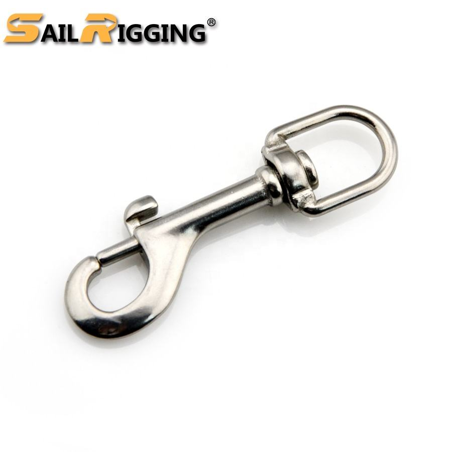 Polished Stainless Steel 316 Swivel Eye Bolt Snap Hook