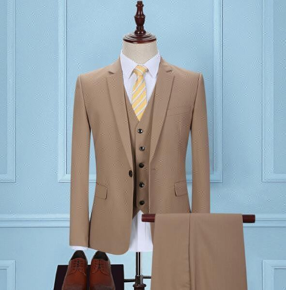 New arrival mens summer suits 100% wool high quality fabric khaki color slim men suit.