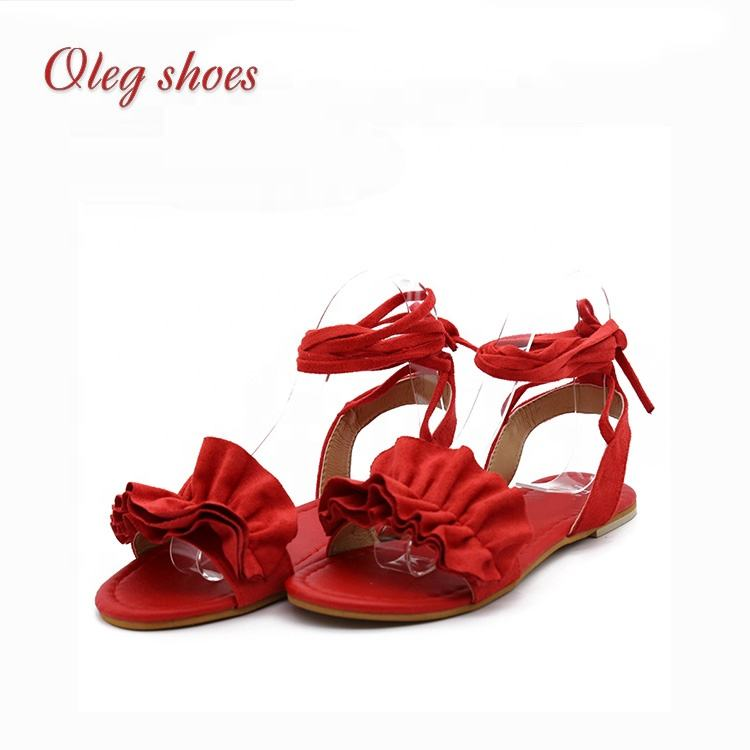Roman style Sandals female 2020 new bow straps lace up sandals open toe sweet fairy wild flats shoes