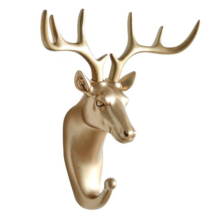 Entrance Nordic Deer Creative Clothes Hanger and Hats Hook Rack Key 3D Animal Head Wall Hook