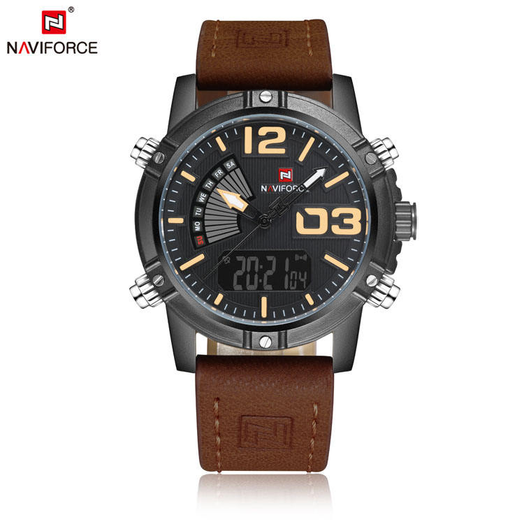 NAVIFORCE 9095 sale luxury men fashion wristwatch gents business date clock army military leather strap japan quartz watch