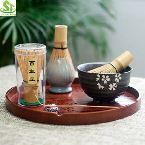 Popular selling Handmade Bamboo Matcha whisk gift Set Whisk Tea Spoon whisk stand and spoon holder
