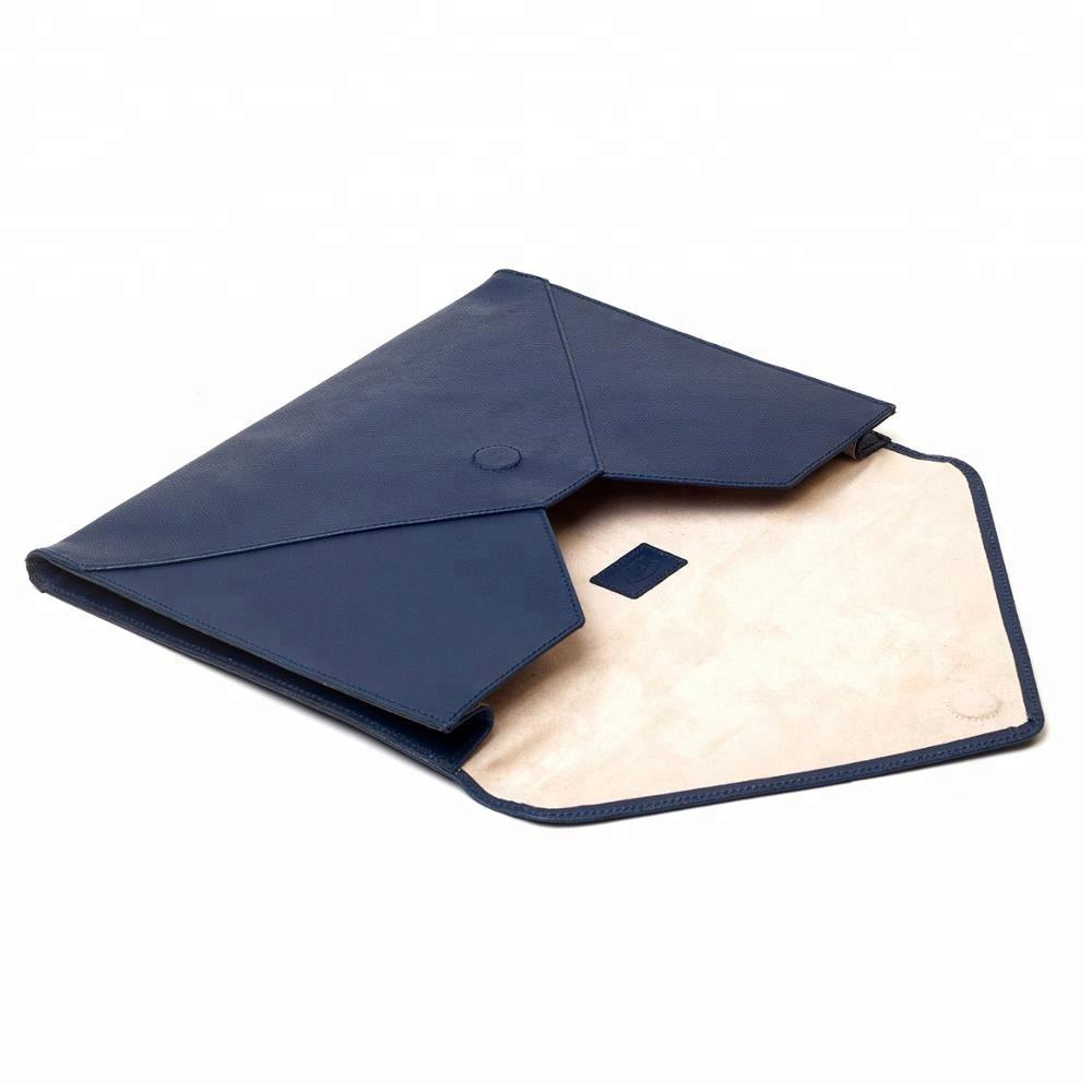 Fashion Office Conference Business Blue PU A4 Leather Envelope Folder