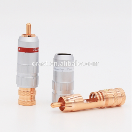OEM Pure Copper Plated Audio Cable Male RCA Plug Speaker Wire Connectors Phono Terminals