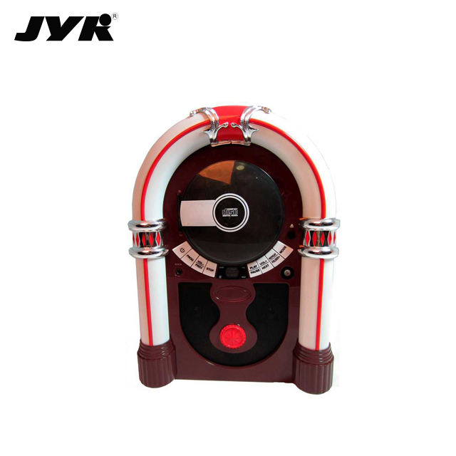 Hot Selling Handmade High Quality Wooden Retro Jukebox with CD player,BT,Aux in,Radio and Stereo Speakers
