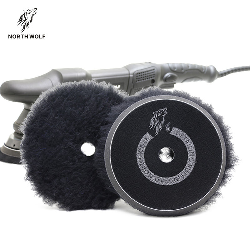 Buffing wool pad dual action polisher pads car detailing polishing wool pads 6inch 100% wool material