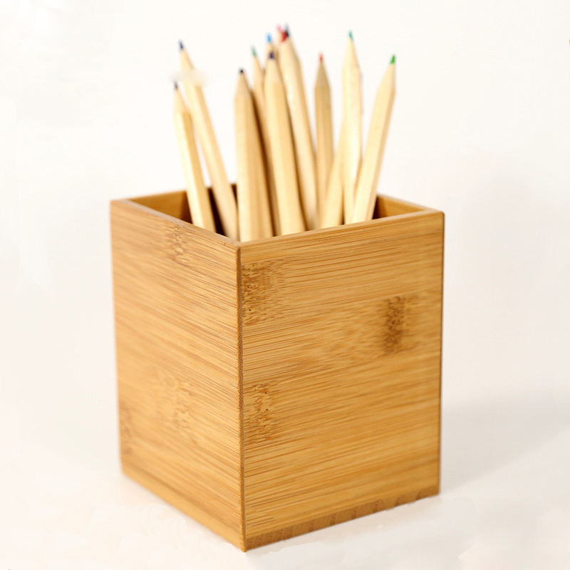 Unfinished desktop natural color varnish bamboo pen holder